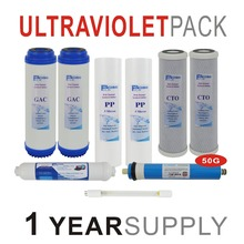 1 Year Supply Ultraviolet Reverse Osmosis System Replacement Filters Set - 9 with UV and 50 GPD RO Membrane Pack Of