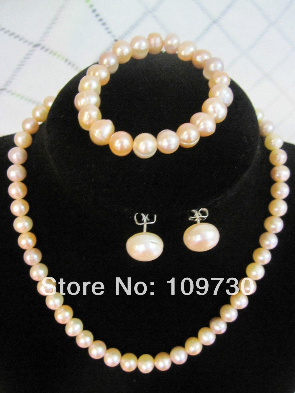 Jewelry 00586 Pink Pearl Jewelry Set Necklace+Bracelet+Earrings-100%Jewelry 00586 Pink Pearl Jewelry Set Necklace+Bracelet+Earrings-100%