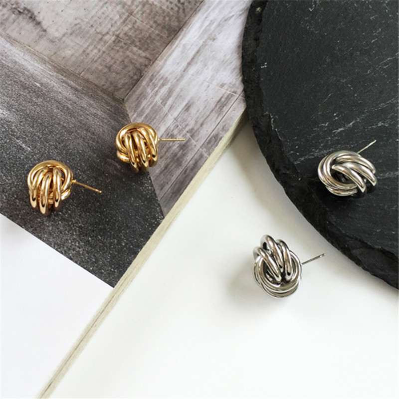 Accessories based knot earrings minimalist tide female hip-hop dance cold personality trend stud earrings