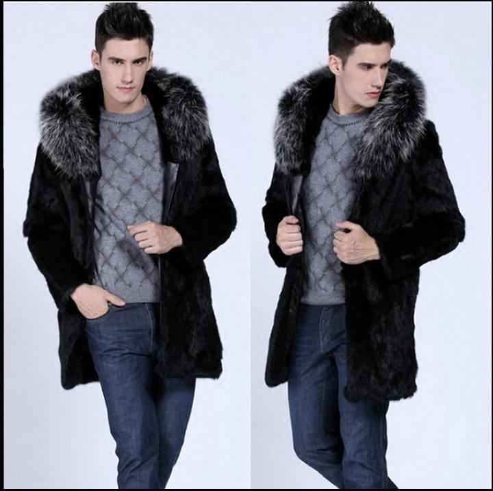Single Breasted Winter Long Herre Hooded Overcoats Faux Fur Jackets - Herretøj - Foto 2