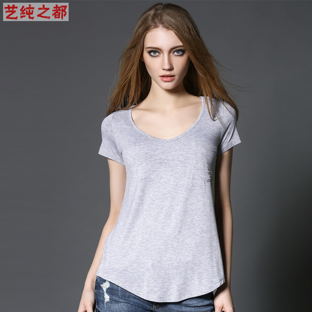 Clic Fashion Models Women S Plus Size T Shirt For European American Cotton Short Sleeved V Neck Tops