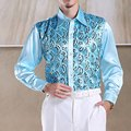 Best Selling Men Latin Dance Tops Long Sleeve Sequins Practice Performance Dancewear Singer Stage Dance Chorus Shirts