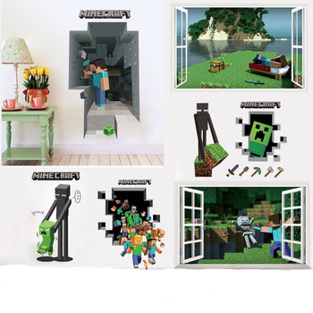 Newest Minecraft Wall Stickers 3D Wallpapers Kids Room Decals Minecraft Steve Home Decoration Popular Games Home Free Shipping