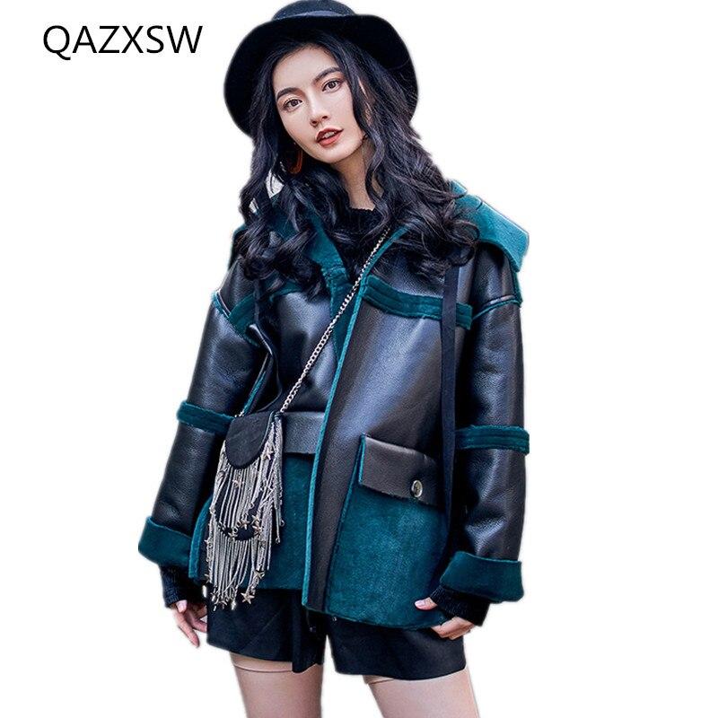 Taille Peut Grande La Veste Extérieure 2018 Une Deux Femmes Tq337 Green Porter Vrac Chaud Hiver Nouvelles De Mode En Manteau Cuir Fourrure Épais x8vzaxw