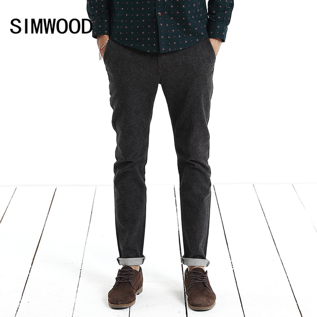 Simwood Brand 2016 New Arrival Men Casual Pants Slim Fit Straight Fashion Long Trousers Plus Size Free Shipping KX210
