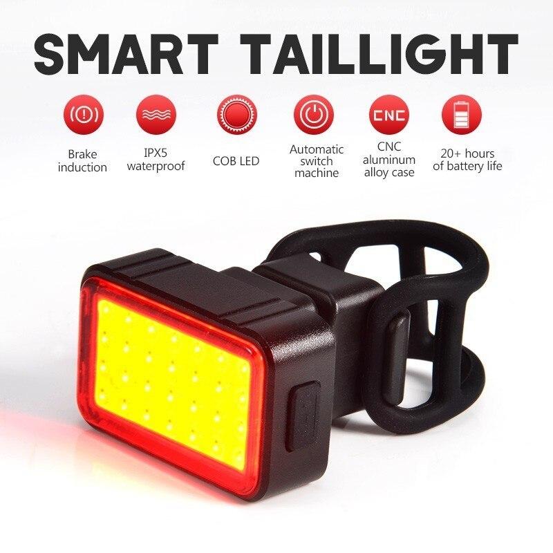Genio inteligente luz de la bicicleta linterna LED para bicicleta luz trasera de freno de IPx5 USB recargable Luz de