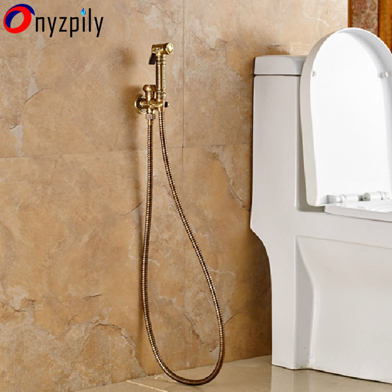 Wall Mounted Bidet Brass Toilet Sprayer Tap Antique Single Hole Bathroom Mop Cleaning Faucet Bidet Faucet ducha higienica hpb wall mounted single handle hot and cold water handheld bidet faucet brass bathroom toilet cleaning spray faucet hp7008