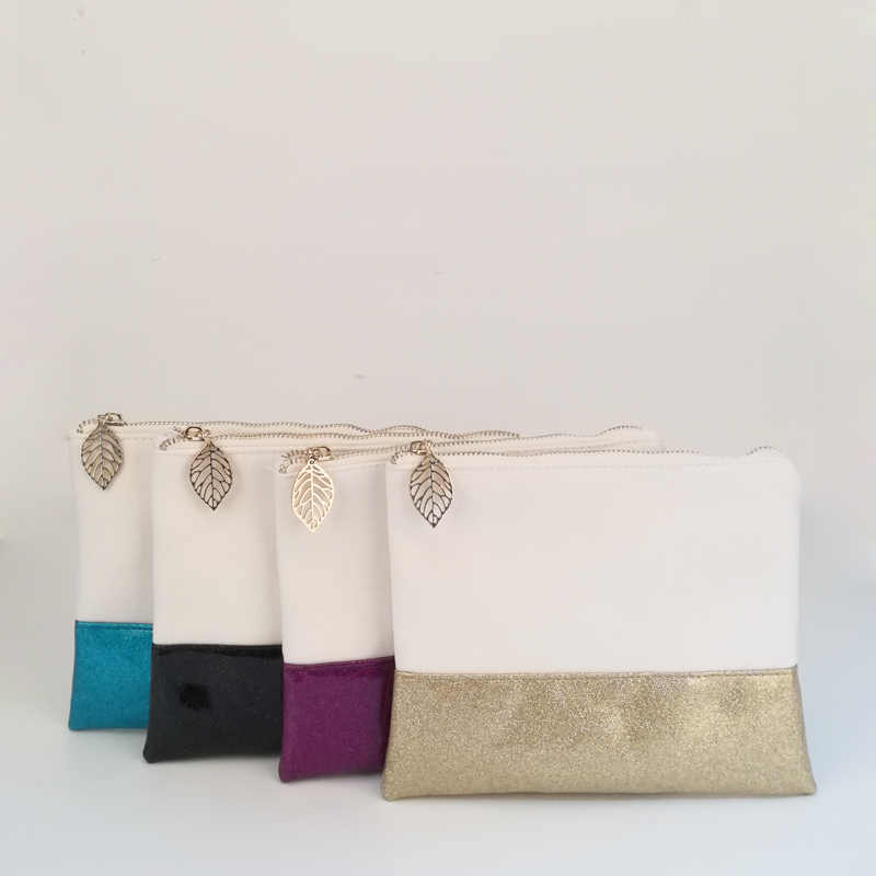 Wholesale Blanks Glitter Canvas Clutch Bag with Leather Bottom Patchwork  Make Up Bag Glitter Hand Purse ea5a995fbd71