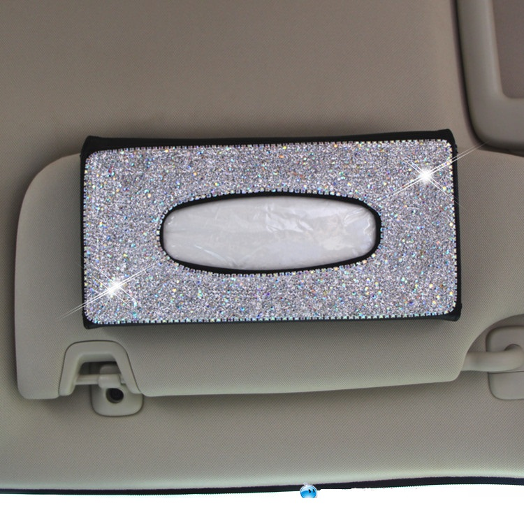 Bling Bling Women Car Tissue Box Sun Visor Tissue Bag Crystals Sunroof Seat Back Hanging Paper Towel Cover Case for Interior