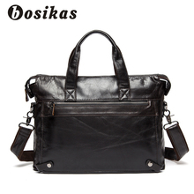BOSIKAS Men Briefcase Laptop Business Bag Travel Briefcase Handbag Fashion Messenger Laptop Shoulder Bags Genuine Leather Bag