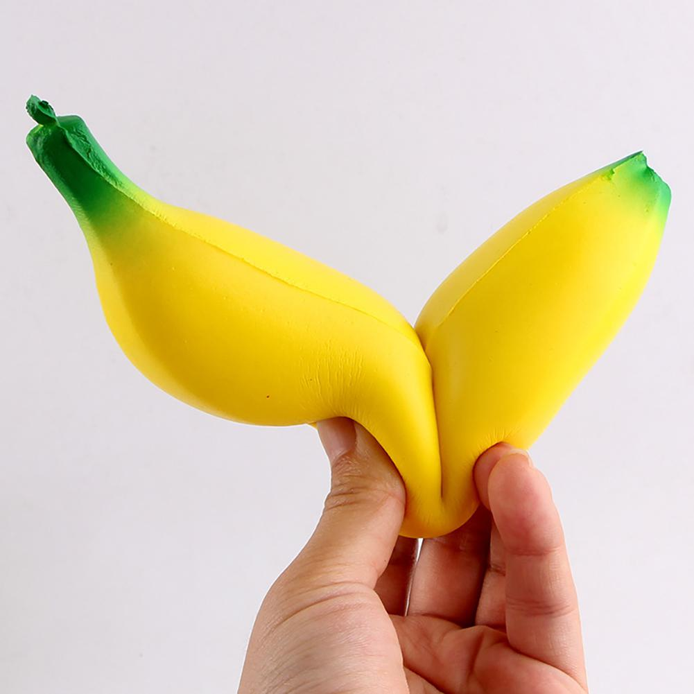 Cute Slow Rising Toys Soft Squishy Banana Pendant Stress Anxiety Reducer Creative PU Vent Toy