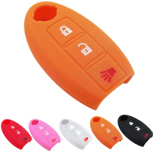 car stlying  Silicone 3Button Car Key Cover Case For Nissan Teana X-Trail Qashqai Livina Sylphy Tiida Sunny March Murano Geniss