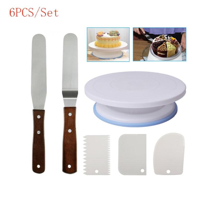 6PCs/Set Cake Turntable Rotating Plastic Dough Knife ...