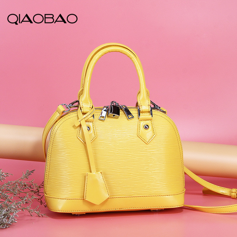 QIAOBAO 100% Genuine Leather Women Messenger Bag High Quality Cow Leather Crossbody Shell Bag Women Fashion Tote Bags