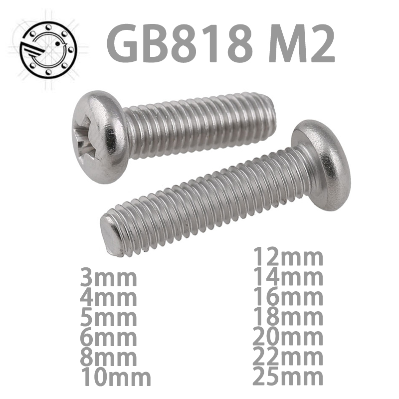 100pcs GB818 M2 304 Stainless Steel Phillips Cross recessed pan head Screw M2*(3/4/5/6/8/10/12/14/16/18/20/22/25) 1000pcs m1 2 3 4 5 6 1 2mm nickel plated micro electronic screw cross recessed phillips round pan head self tapping screw