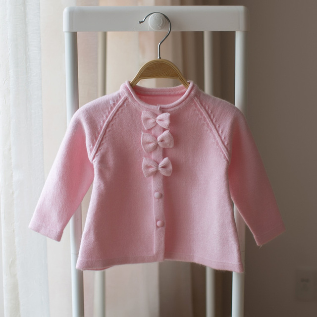 New 2017 spring and autumn kids girls sweater girls baby bowknot cardigan sweater Pink