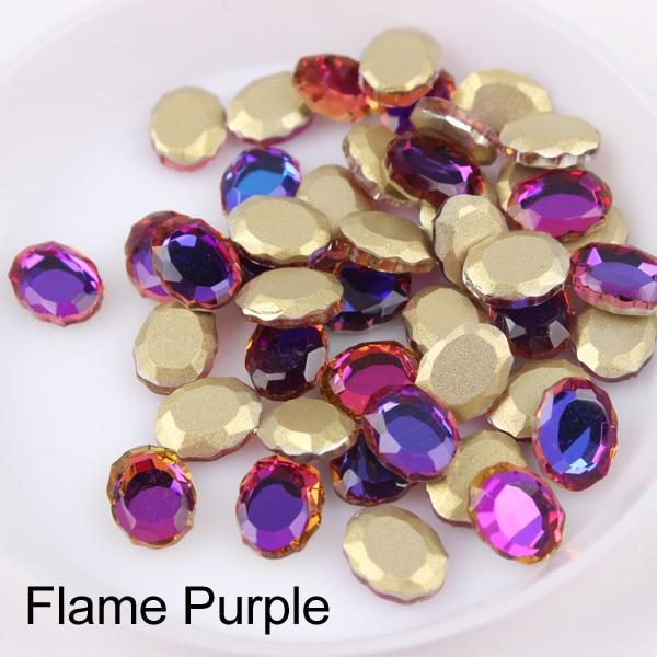 Зеркальная поверхность, не требующей горячей фиксации Стразы овальной формы 6x8 мм 30/100 шт./упак. для художественного оформления ногтей, ручная работа аксессуары свадебное платье для девочки ясельного возраста и сумка-чехол для нейл-арта - Цвет: Flame Purple
