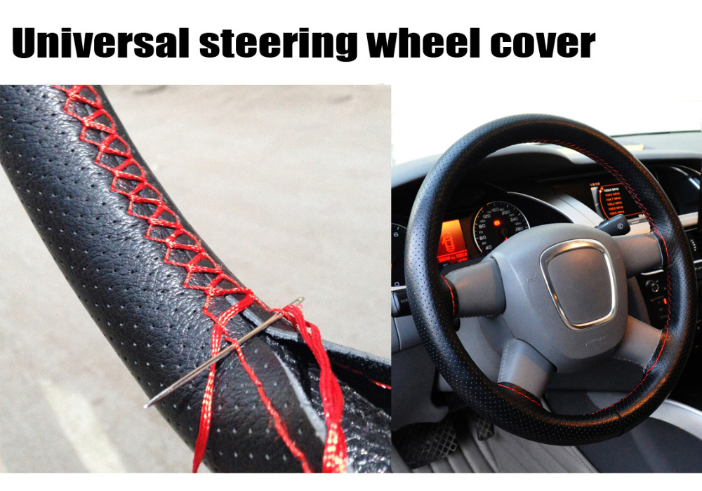 Steering Covers: Universal Car Steering-Wheel Cover hand-stitched 38cm leather steering wheel cover  funda volante housse volant voiture