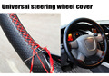 Universal Car Steering-Wheel Cover hand-stitched 38cm leather steering wheel cover  funda volante housse volant voiture