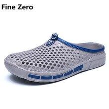 Fine Zero Человек Скольжения на слайдах Мужской Полые Случайные Люди 2017 Моды Сандалии Пластиковые Сандалии Летом Пляж Обувь Водную Обувь тапочки