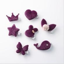 7 pcs/set kids handmade hair accessories imitate mink snap clip girls fashion hairpin crown toddlers barrette TZ17
