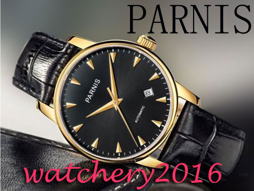 New 38mm Parnis black dial rose golden case sapphire glass miyota 821A automatic movement Mens watchNew 38mm Parnis black dial rose golden case sapphire glass miyota 821A automatic movement Mens watch