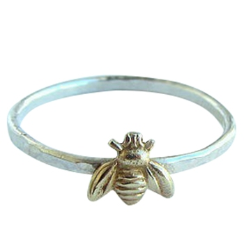 Bee Finger Rings Gold Hammered Band Stacking Rings Wedding Anniversary Jewelry 1
