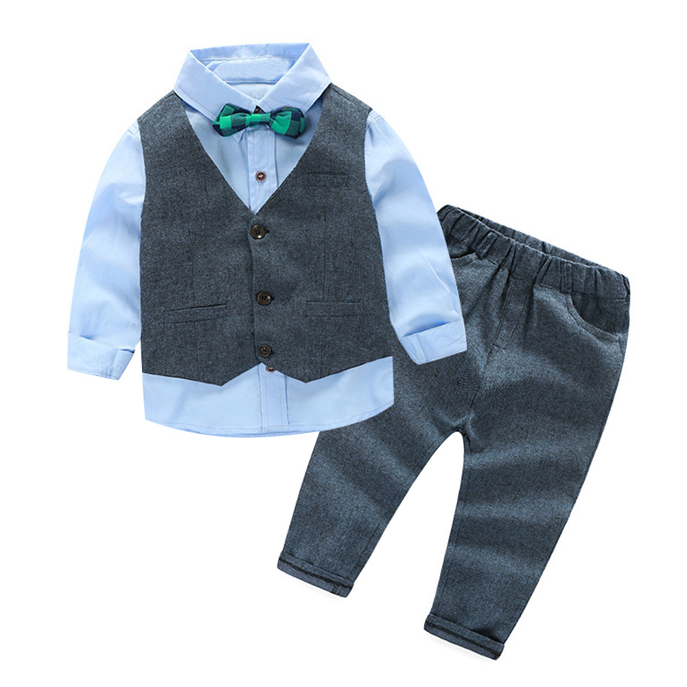 Gentleman baby boy clothing set butterfly bow tie for Baby shirt and bow tie