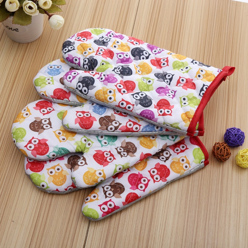 Small Owls Printed Oven Mitts for Out door BBQ or Kitchen Supplies Oven Glove (1)