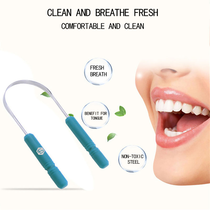 RORASA Healthy Tongue Cleaner Stainless Steel Silica Handle Tongue Scraper Oral Hygiene Dental Cleaning Brush Oral Care