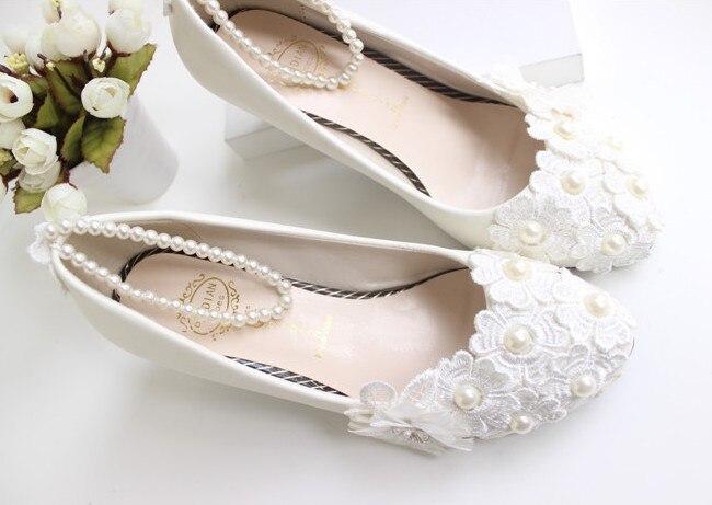 Silk Floral Flat Heel White Wedding Shoes Bridal Women Shoes Beading