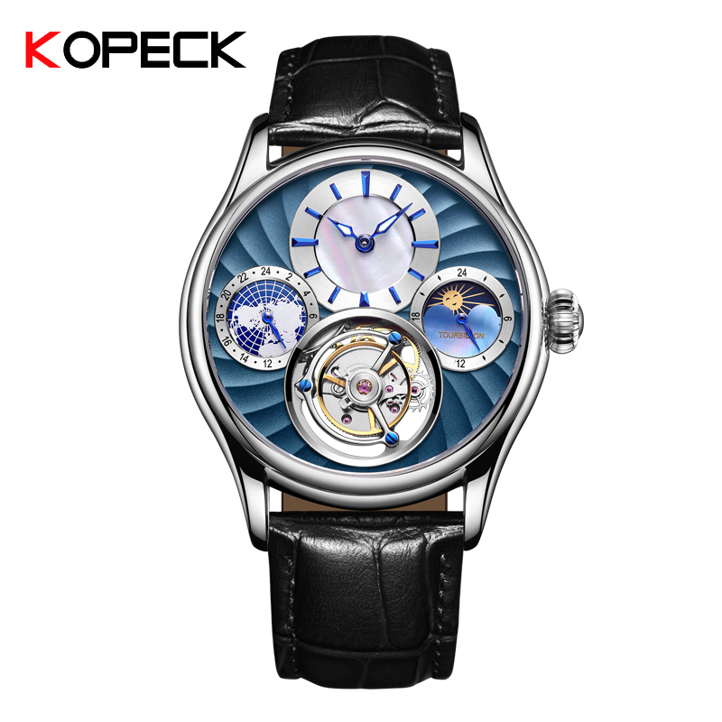 KOPECK Mechanical Watch Men s Top Brand Watch Sapphire Mirror Original Tourbillon Hollow Movement Moon Phase