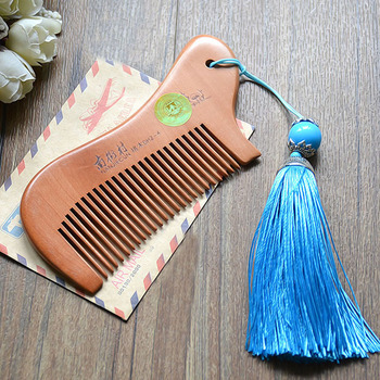 Party Favors Natural Peach Wood Mini Comb with tassel Close Teeth Head Massage Hair Care Tools Hairbrush Hairdressing Accessory 3