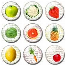 Fruit and Vegetable Series Fridge Magnets Cute 30 MM Glass Dome Refrigerator Round Magnetic Sticker Decoration Home Decor