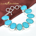 Free Shipping High Quality AAA+ Blue Turquoise Silver Plated Classic OVAL Turquoise Bracelets