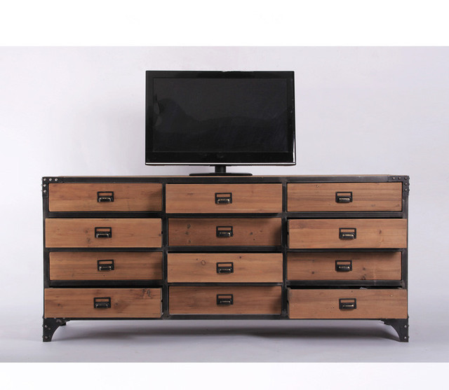 Hot American furniture cabinet storage lockers old fir wood living room TV  simple horizontal cabinet 12