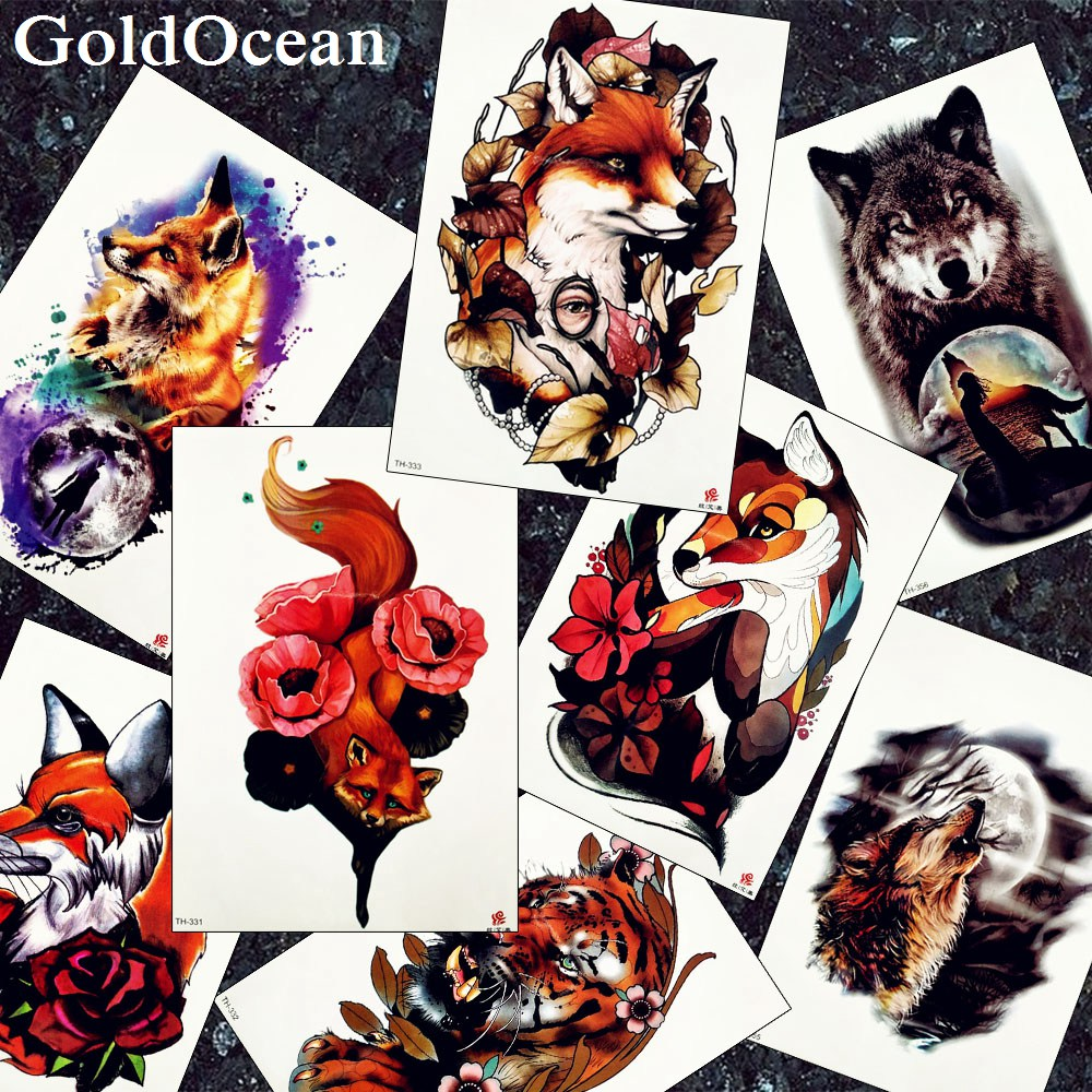 3D Flash Large Fox Tattoos Temporary Women Arm Chest Flora Fake Men Legs Tatoos Wolf Moon Waist Water Transfer Tattoo Red Supply
