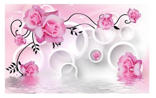 Rosa Rose Tapete Blume Wandbilder Wallpaper Wohnzimmer Dekoration Bunga Fantasi