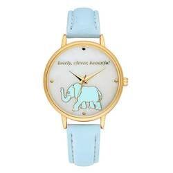Для Женщин Простой повседневное наручные часы обувь для девочек мультфильм слон печати кварцевые часы дамы Нежный из искусственной кожи