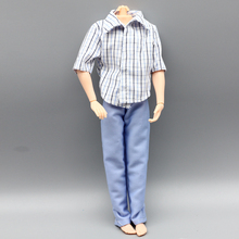 1set Casual Wear Plaid Doll Clothes Pants Trousers For Barbie Ken Doll boy friend toy gift