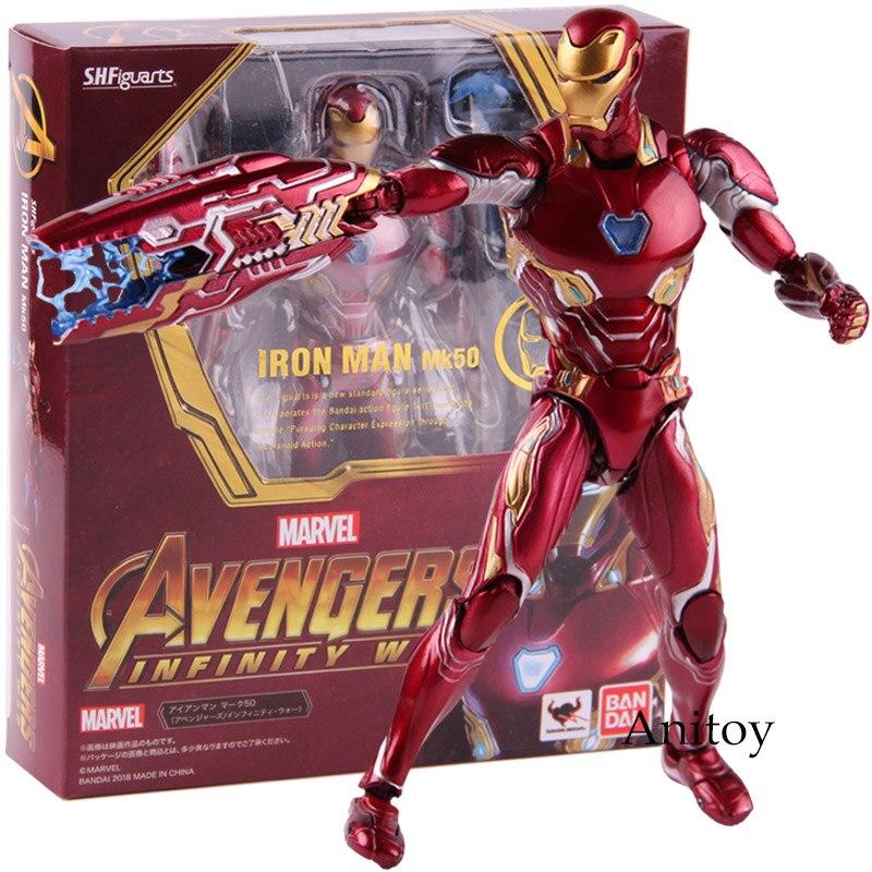 SHF SHFiguarts Marvel Avengers Infinity War Action Figure Iron Man MK 50 Mark XLX PVC Collectible Model Toy marvel the avengers stark iron man 3 mark vii mk 42 43 mk42 mk43 pvc action figure collectible model toys 18cm kt395