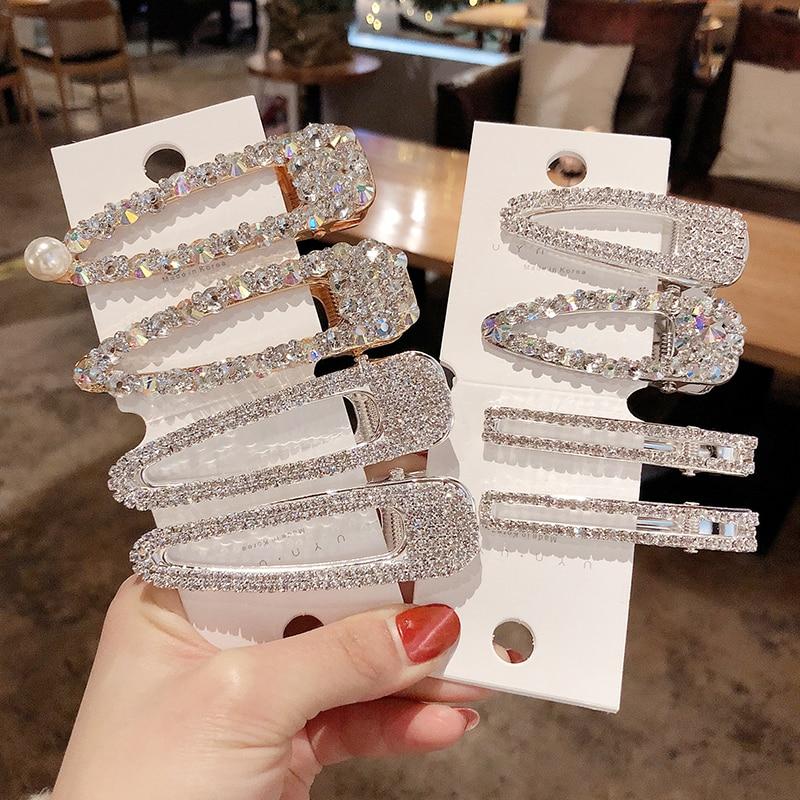 2019 New Fashion Hair Clip Flash Luxury Rhinestone Full Crystal Pearl Elegant Women Barrettes Hairpins Hair Accessories