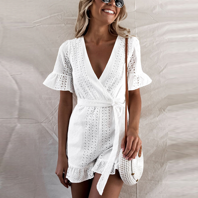 Tosheiny 2020 Women Sexy Deep V Overall Short Sleeve Belt Hollow Out Backless Rompers Elegant Solid Color  Playsuit TH0047