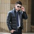 Мужские Кожаные Куртки Мода Марка Дизайн Повседневная Тонкий Байкер Мотоциклов Jaquetas Де Couro Зимняя Толщиной Кожаное Пальто Бизнес 4XL