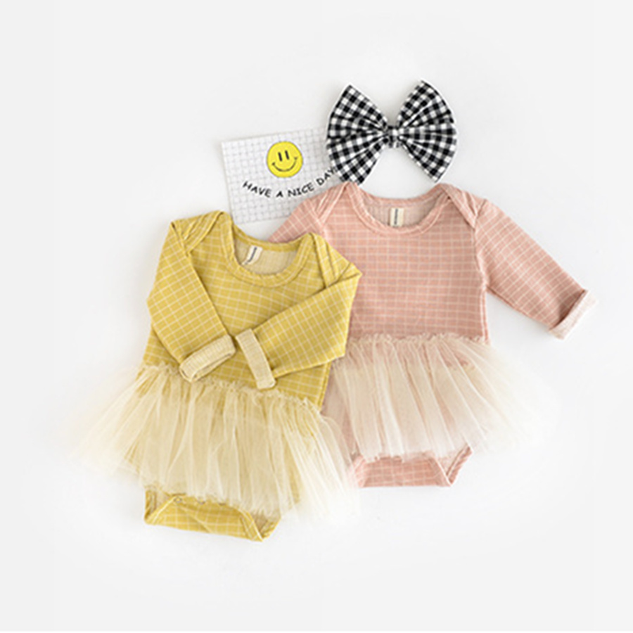 2017 Baby Girls Autumn Baby Romper Long Sleeve Plaid Cotton New Born Baby Clothes Lace Infant