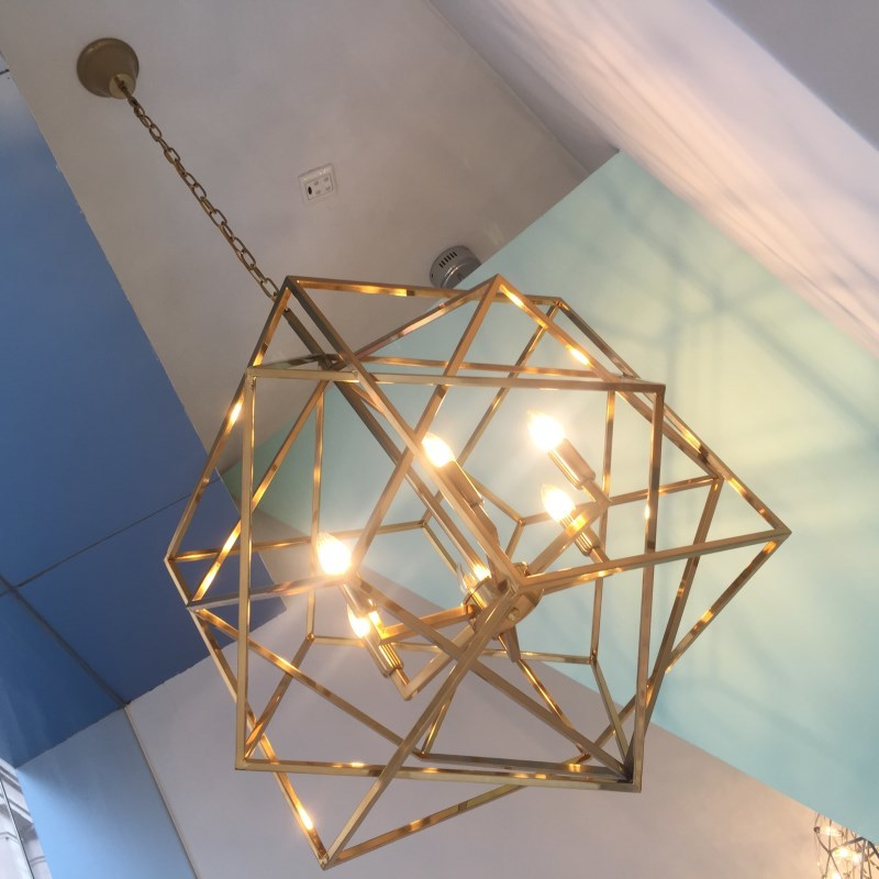 Gold Cage Lamp Shade Geometry Kitchen Light Modern Pendant Lights - Gold kitchen light fixtures
