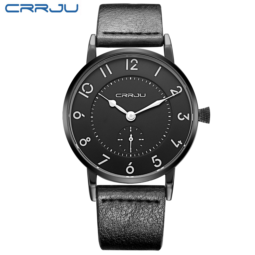 CRRJU Brand Luxury Super slim Leather Strap Men Watch &