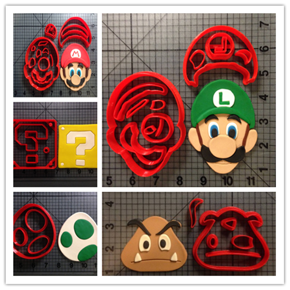 Cute Custom Made 3D Printed Game Super Mario Question Block Fondant Cupcake <font><b>Cup</b></font> <font><b>Cookie</b></font> Cutters Set Cake Moulds for <font><b>Cookie</b></font> Cutter