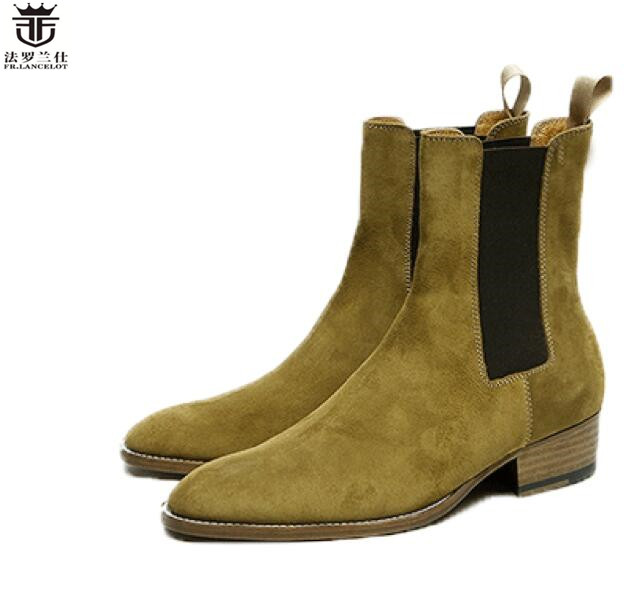 2019 Fr. Lancelot Luxus Marke Druck Leder Booties Echtes Leder Chelsea Stiefel Drucken Stiefeletten Männer Mode Herbst Stiefel