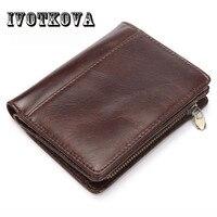 IVOTKOVA Genuine Leather Wallet Men PORTFOLIO MAN Male Small Wallet With Coin Purse Pockets Slim Fashion Mini Wallet